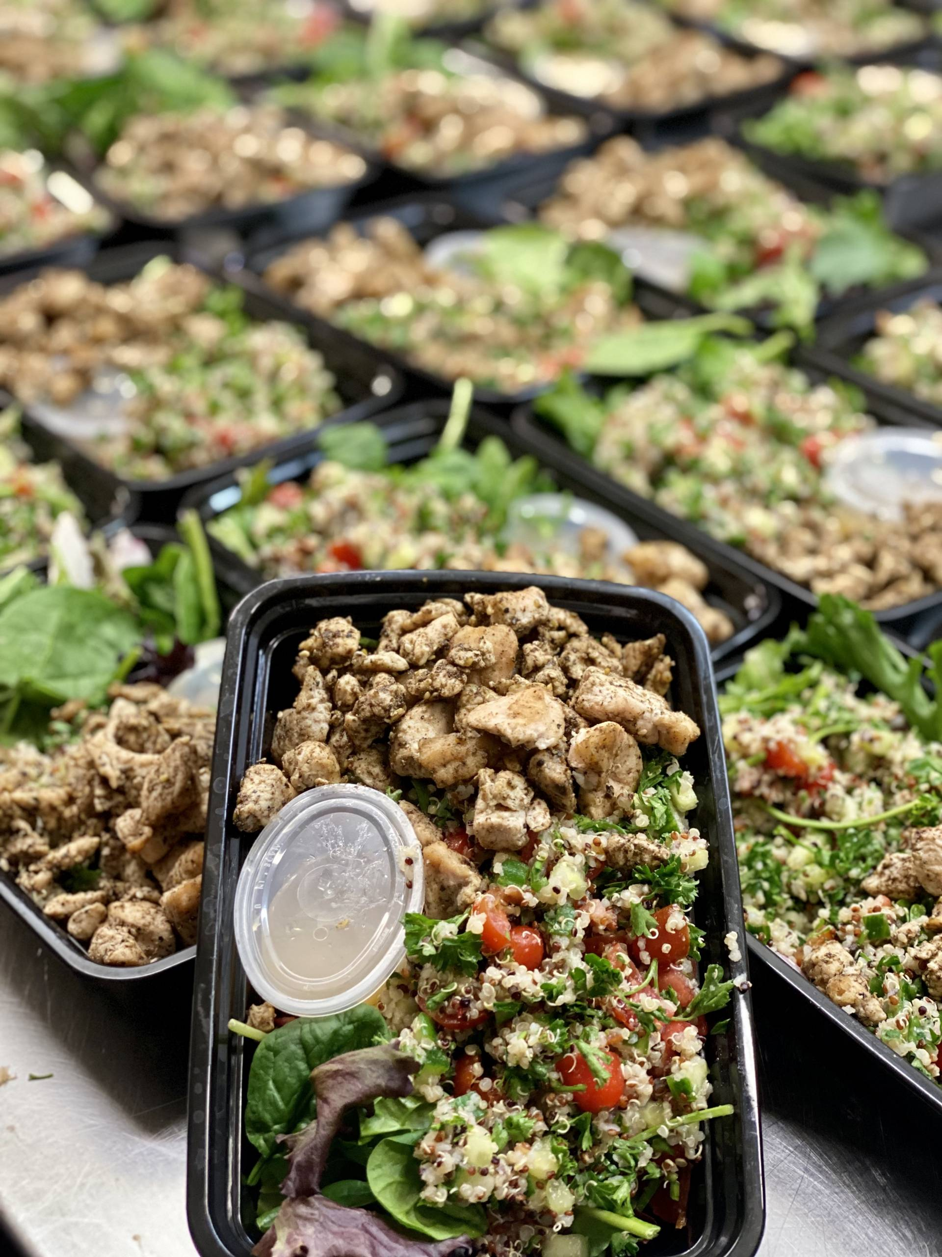 Quinoa Tabbouleh Salad with Herb Roasted Chicken and Green Goddess Dressing