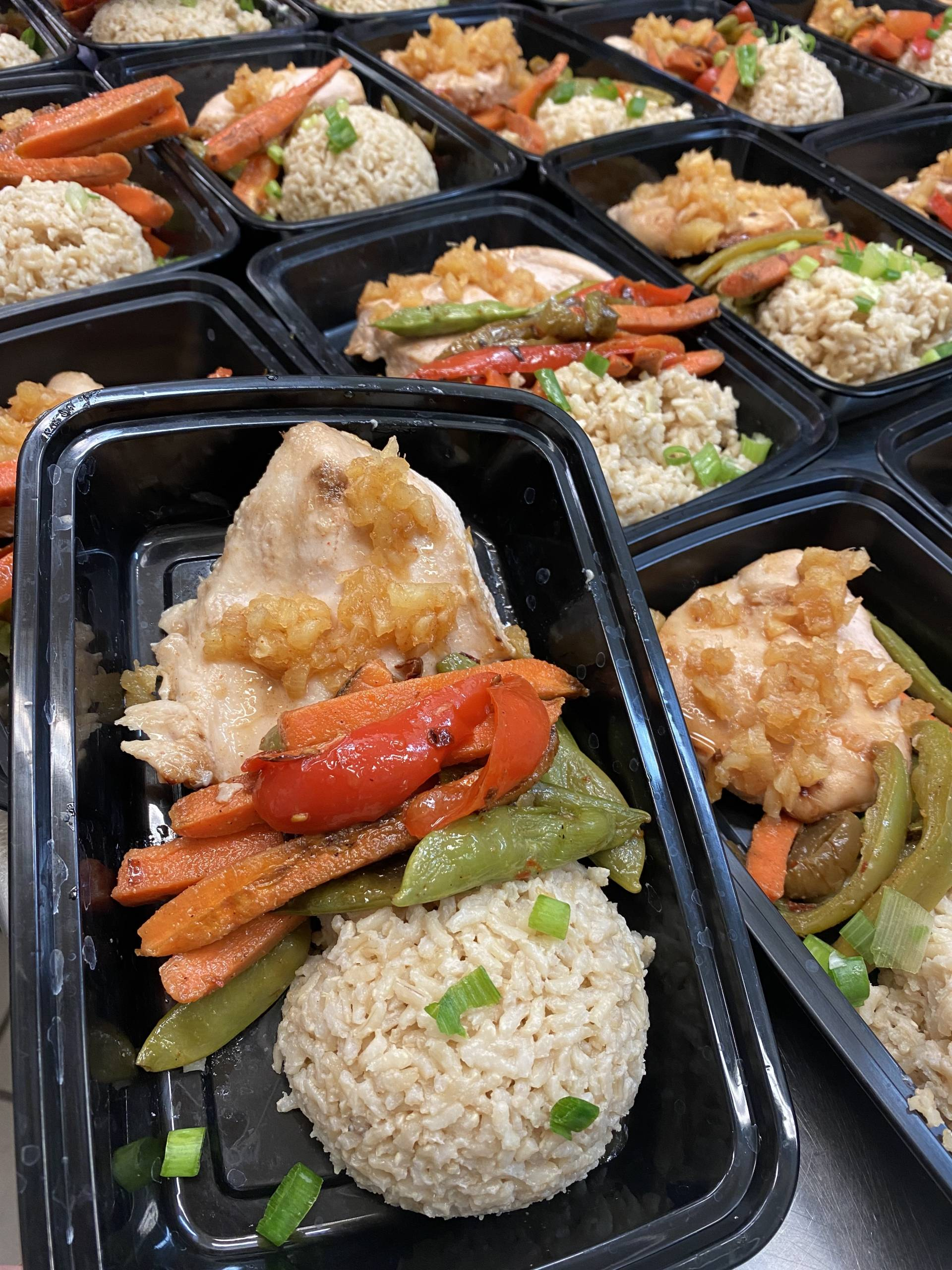 Pineapple Chicken with Stir Fry Vegetables and Coconut Lime Rice