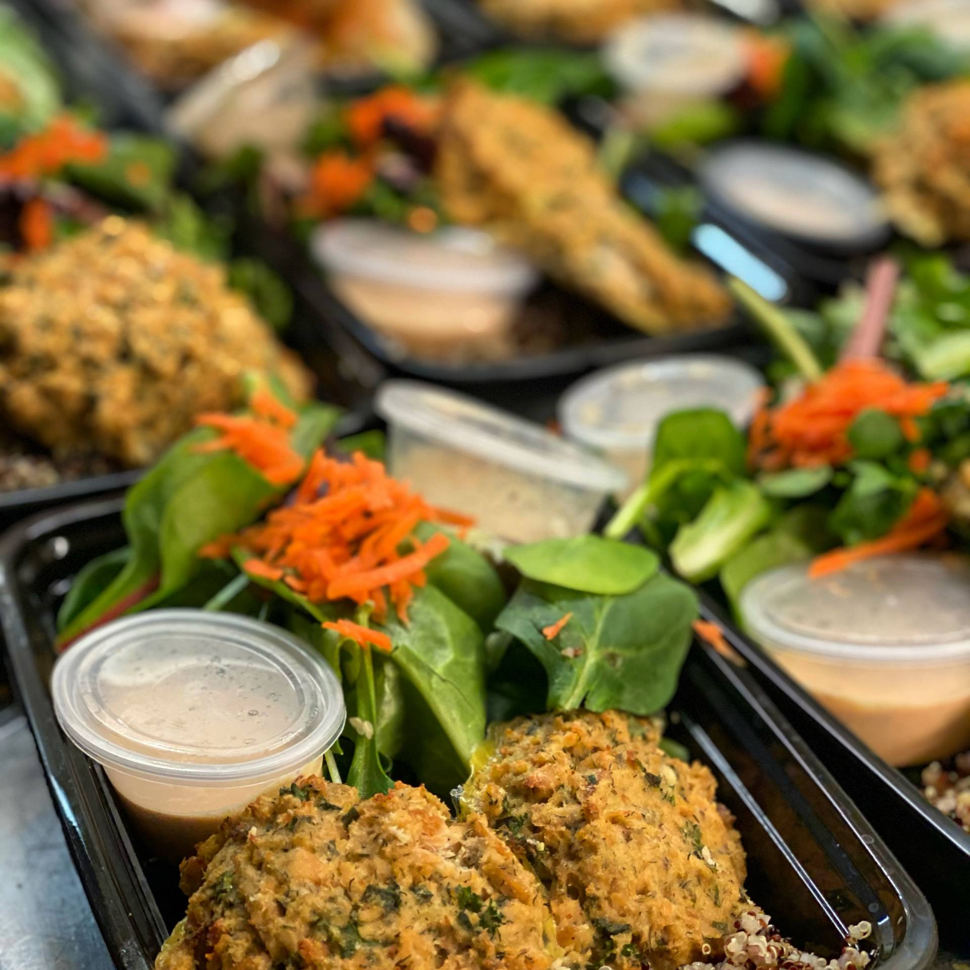 Salmon Cakes with a Spicy Aioli, Salad, and Quinoa