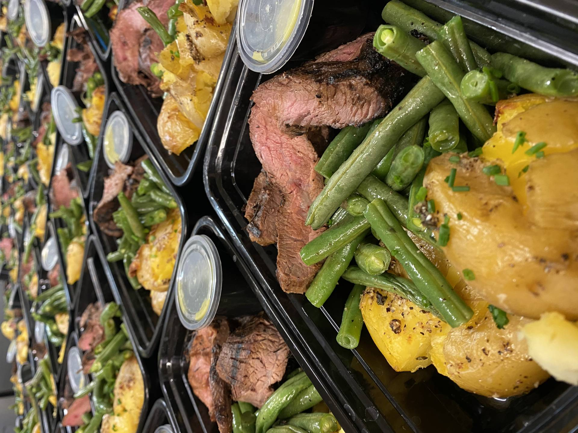 Wasabi Steak with Smashed Potatoes and Green Beans