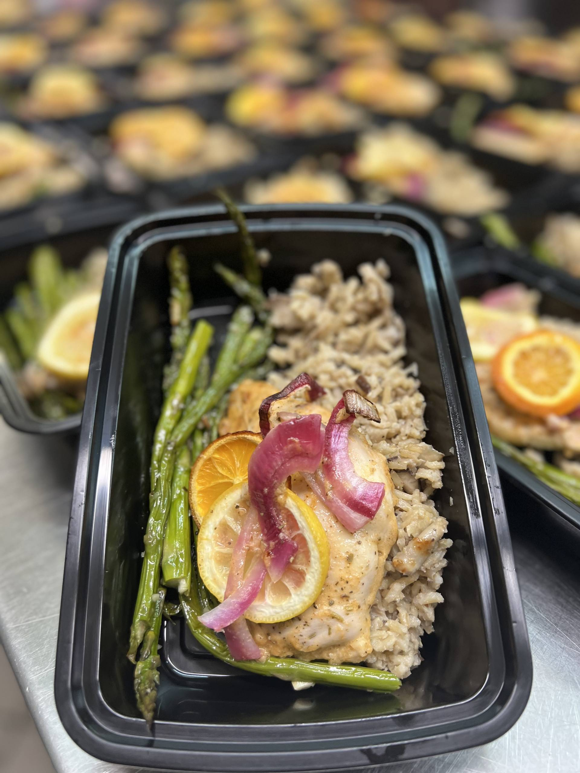 Lemon Herb Chicken with Mushroom Risotto and Asparagus