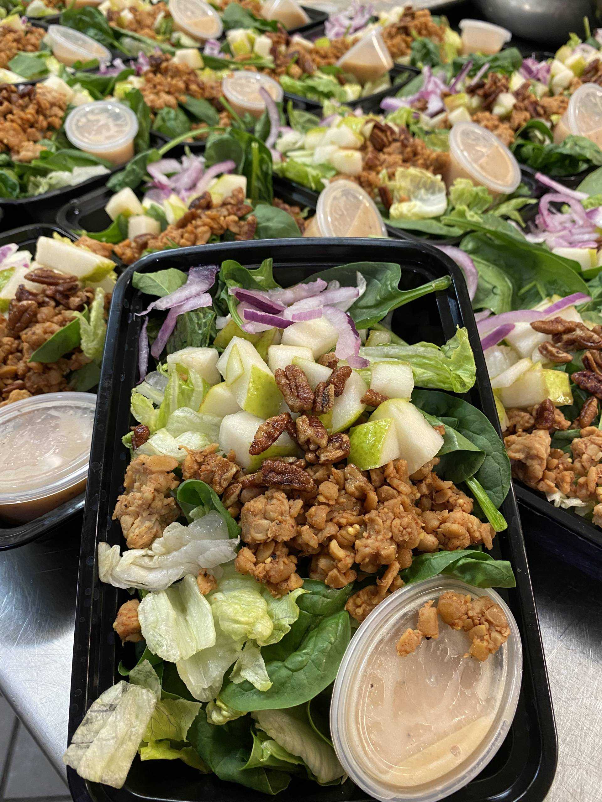 Pear and Pecan Salad with Smoked Tempeh