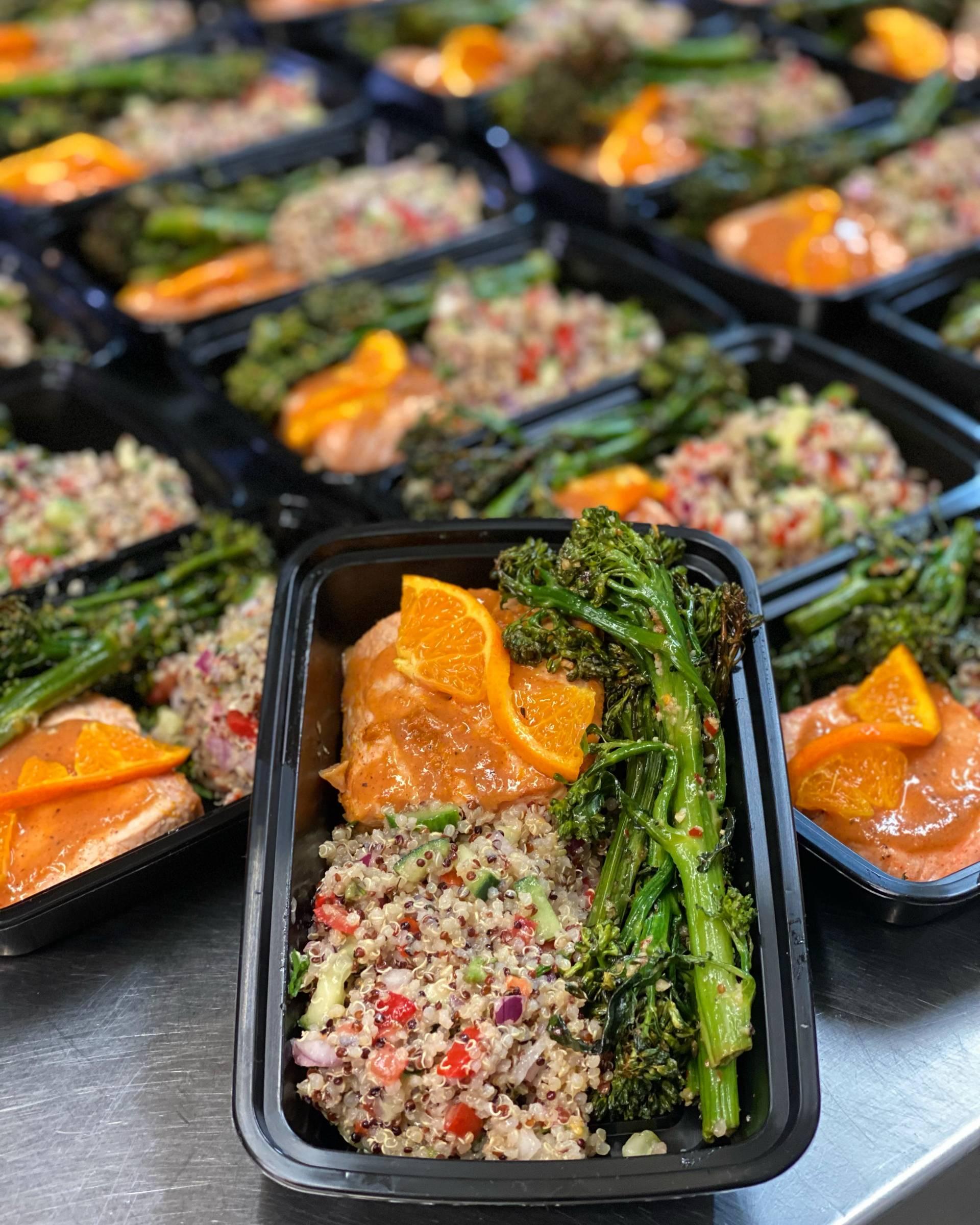 Maple Salmon with Broccolini and Quinoa Salad